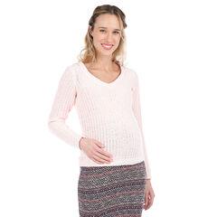 Πλεκτό εγκυμοσύνης σε απαλό ροζ