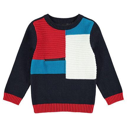 Πλεκτό πουλόβερ με αντιθέσεις και φερμουάρ μπροστά