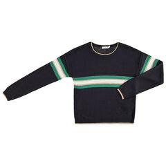 Παιδικά - Πλεκτό πουλόβερ με λωρίδες που κάνουν αντίθεση και χρυσαφί νότες