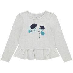 Μακρυμάνικη μπλούζα από μελανζέ ζέρσεϊ με κεντημένα λουλούδια