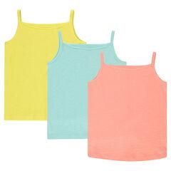 Παιδικά - Σετ 3 μονόχρωμα ζέρσεϊ μπλουζάκια με τιράντες