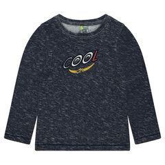 Μακρυμάνικη μπλούζα από φαντεζί ζέρσεϊ με επιγραφή σε κέντημα