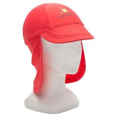 Κόκκινο καπέλο με αντηλιακή προστασία SPF 50+ και κάλυμμα αυχένα