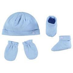 Σετ με μονόχρωμο σκούφο, ενιαία γάντια και παπουτσάκια αγκαλιάς από ζέρσεϊ