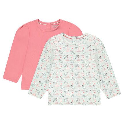 Σετ με 2 μακρυμάνικες μπλούζες, μία μονόχρωμη/μία εμπριμέ