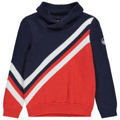 Πλεκτό πουλόβερ με λωρίδες σε αντίθεση σε στυλ vintage και λαιμό ζιβάγκο