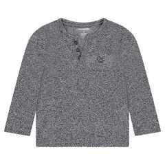 Μακρυμάνικη μπλούζα από μελανζέ ύφασμα με κεντημένο λογότυπο