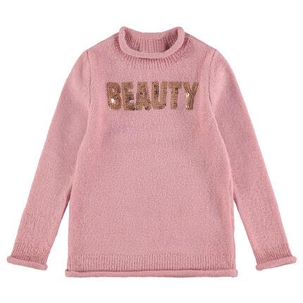 Μονόχρωμο πλεκτό πουλόβερ με μήνυμα από πούλιες μπροστά