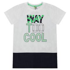 Κοντομάνικη μπλούζα δίχρωμη με τυπωμένα γράμματα