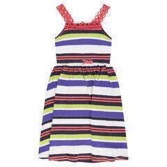 Παιδικά - Μακρύ φόρεμα ριγέ με τιράντες από δαντέλα