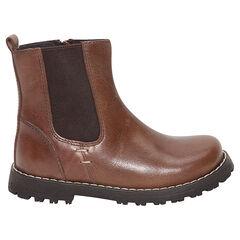 Χαμηλές μπότες από δέρμα, με φερμουάρ