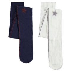 Σετ 2 λεπτά καλσόν με γυαλιστερές λωρίδες και αστέρια