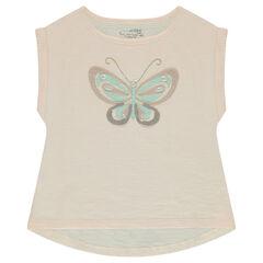 Κοντομάνικη μπλούζα από ζέρσεϊ slub ύφασμα με πεταλούδα από δίχτυ