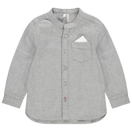 Chemise manches longues en maille chinée col mao et poche