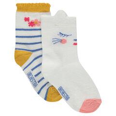 Σετ με 2 ζευγάρια ασορτί κάλτσες ένα ριγέ / ένα με διακοσμητικό μοτίβο