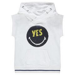 Κοντομάνικη μπλούζα από φανέλα με μοτίβο ©Smiley από «μαγικές» πούλιες