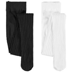 Σετ με 2 καλσόν σε ύφανση με διακοσμητικό σχέδιο, ένα μαύρο / ένα λευκό