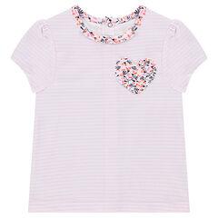 Κοντομάνικη ριγέ μπλούζα με τσεπάκι σε σχήμα καρδιάς και λουλούδια
