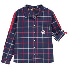 Παιδικά - Μακρυμάνικο πουκάμισο με καρό και σήμα Smiley