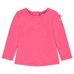 Μακρυμάνικη μπλούζα ροζ με στάμπα και φιόγκο