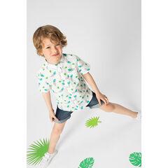 Κοντομάνικο βαμβακερό πουκάμισο με διακοσμητική στάμπα φύλλα