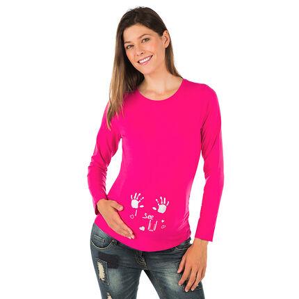 Tee-shirt manches longues de grossesse avec print fantaisie