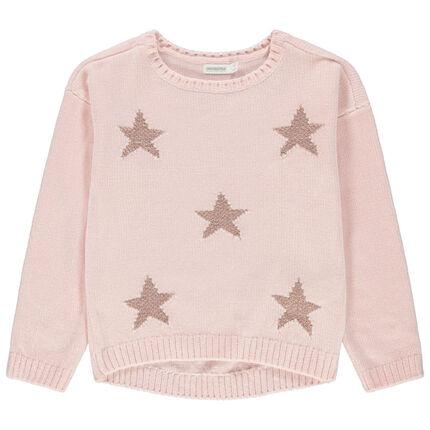 Σενίλ πλεκτό πουλόβερ με ζακάρ αστέρια