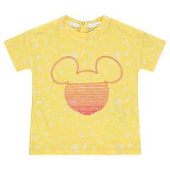 Κοντομάνικη ζέρσεϊ μπλούζα με εμπριμέ μοτίβο και στάμπα Μίκυ της ©Disney