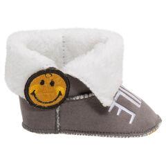Χαμηλές μπότες από ζέρσεϊ με γούνινη επένδυση, ρεβέρ και σήμα ©Smiley