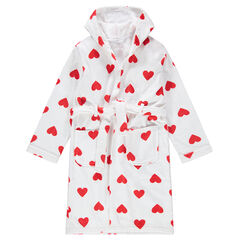 Παιδικά - Μπουρνούζι με κουκούλα πετσετέ και καρδούλες σε όλη την επιφάνεια