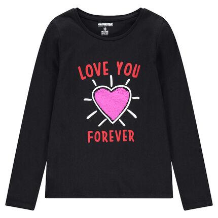 Παιδικά - Μακρυμάνικη ζέρσεϊ μπλούζα με καρδιά από «μαγικές» πούλιες