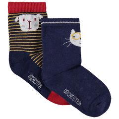 Σετ 2 ζευγάρια κάλτσες με ζακάρ μοτίβο γάτα και σκύλο