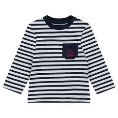 Μακρυμάνικη μπλούζα με ρίγες σε όλη την επιφάνεια και τσέπη