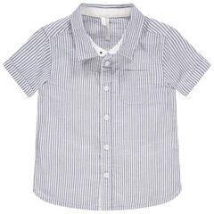 Κοντομάνικο πουκάμισο από βαμβάκι και λινό με ρίγες