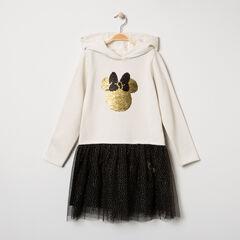 Μακρυμάνικο φόρεμα με κουκούλα, τούλι και μοτίβο Μίνι από «μαγικές» πούλιες