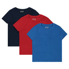 Παιδικά - Σετ με 3 μονόχρωμα κοντομάνικα μπλουζάκια από ζέρσεϊ