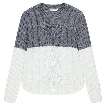 Παιδικά - Δίχρωμο μακρύ πλεκτό πουλόβερ με πλεξούδες