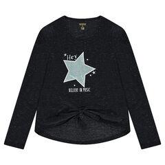 Παιδικά - Μακρυμάνικη μπλούζα μελανζέ με μεταλλιζέ ίνες στην ύφανση