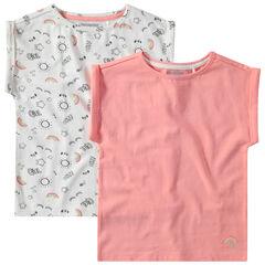 Σετ 2 βαμβακερά μπλουζάκια, ένα μονόχρωμο / ένα εμπριμέ