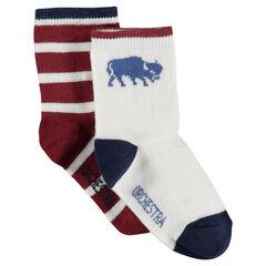 Σετ με 2 ζευγάρια ασορτί κάλτσες με ρίγες/σχέδια