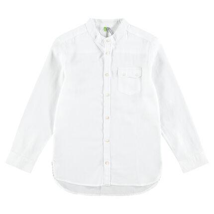 Παιδικά - Βαμβακερό πουκάμισο με ανάγλυφη ύφανση και τσέπη με καπάκι και κουμπί