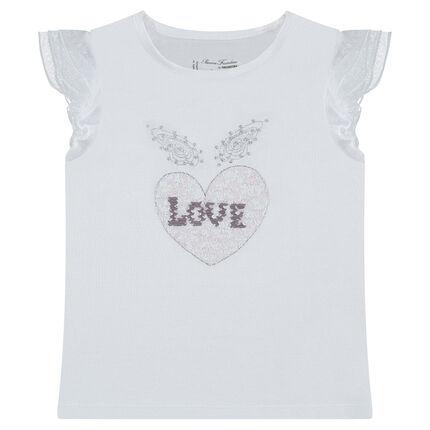 Κοντομάνικη μπλούζα με καρδιά από «μαγικές» πούλιες
