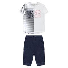 Παιδικά - Σύνολο με ριγέ μπλούζα και βερμούδα με τσέπες