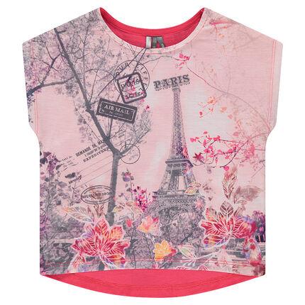 Κοντομάνικη μπλούζα σε τετράγωνη γραμμή με στάμπα σε όλη την επιφάνεια