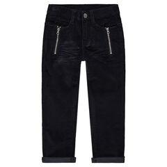 Βελούδινο παντελόνι με φαντεζί τρουκ, φερμουάρ και μόνιμες τσακίσεις
