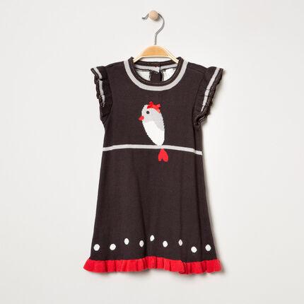 Πλεκτό φόρεμα με πουλάκι και πουά ζακάρ μοτίβο