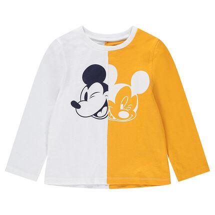 Μακρυμάνικη δίχρωμη μπλούζα από ζέρσεϊ με στάμπα Mickey της ©Disney