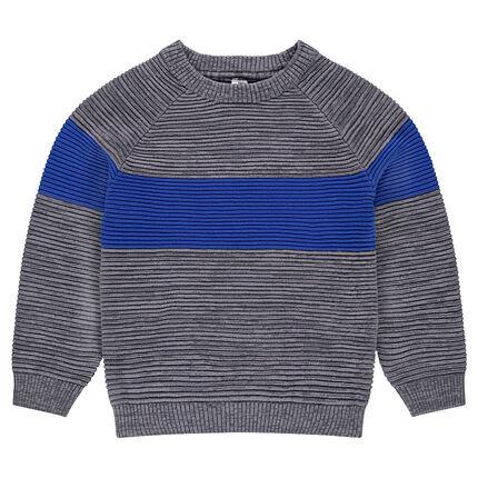 Παιδικά - Πλεκτό πουλόβερ με λωρίδα σε αντίθεση