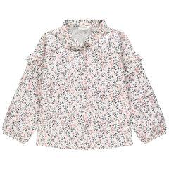 Chemise à fleurs all-over et volants