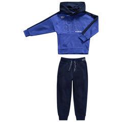Φόρμα από μπλε φανέλα με τυπωμένες φράσεις και τσέπες